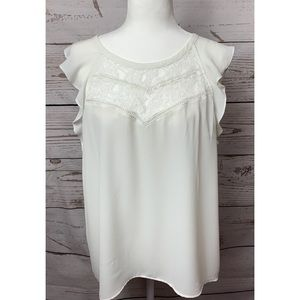 NWOT Express White Lace Ruffle Sleeves Blouse Med